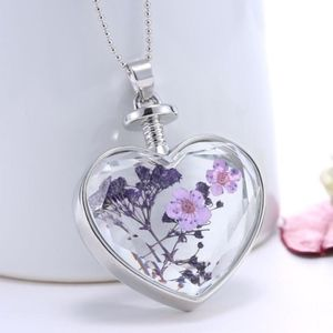 Jewelry - Dried Lilac Flower Floating Glass Heart Necklace